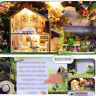 Kids Miniature Doll House Wooden Dollhouse W/LED Lights Furniture DIY Kit Gifts