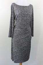 Ralph Lauren 3/4 Sleeve Stretch Side Draped Bodycon Dress Black Gray White 18 XL
