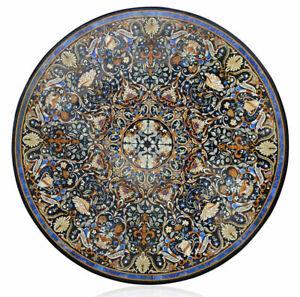 "42"" marble table top inlaid semi precious stones handmade work art decor"