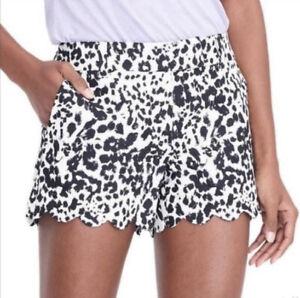 J Crew H5608 Linen Cotton Blend Scalloped Animal Print Shorts Size 2