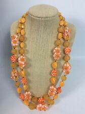 Beautiful Orange Molded Lucite Flowers 2 Strands Gold  Tone Clasp necklace Vtg.
