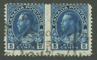 "CANADA #117 USED ""ADMIRAL"" PAIR PERF VARIETY"