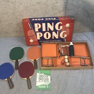 Vtg Parker Brothers Ping Pong Table Tennis Set Net 4 Paddles Rules Ball
