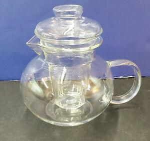 Glass 40 0z Primula Teapot Tea Pot w/Infuser for Loose or Flowering Tea EUC