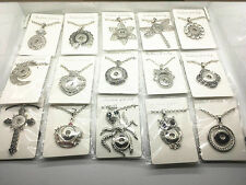 50pcs Lot assorted Snap Pendant Jewelry Fit 18mm Snaps Charm Button With Chain