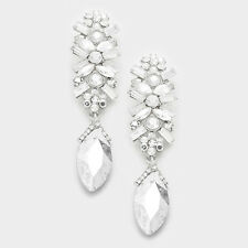 """LUXE Glam Rare Silver Crystal HUGE 3"""" Cocktail Bridal Earrings By Rocks Boutique"""