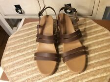 TEVA 1010908 Cork Wedge Sandals Brown Leather Women's Size 10M, EUC