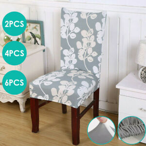1/4/6x Dining Chair Seat Covers Slip Stretch Wedding Banquet Party Removable UK