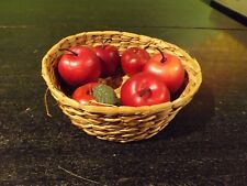"""COUNTRY WOVEN  BASKET WITH APPLES INCLUDING APPLE CANDLE  9"""" DIAMETER"""