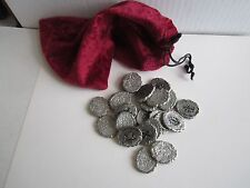 VINTAGE SILVER COIN TREASURE TOY - IN RED VELVET BAG - FUN TOY TREASURE -TUB BMA