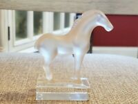 "Lalique France Crystal Tang Horse Figure 4"" Frosted Clear Signed. Damage to mane"