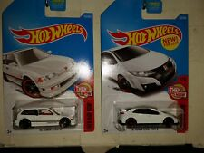Hot Wheels Honda Civic White Then and Now 2 car LOT !