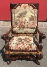Antique Carved Wood Throne Arm Chair Needlepoint John Smyth Italy Rococo Baroque
