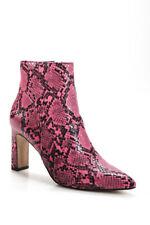Steven Womens Snakeskin Print Pointed Toe Jenn Ankle Booties Pink Black Size 8