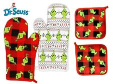 Dr. Seuss The Grinch Christmas 4 pc Set of Cotton Oven Mitts and 2 Pot Holders