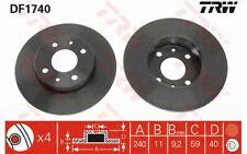 2x TRW Front Brake Discs Solid 240mm DF1740 - Discount Car Parts