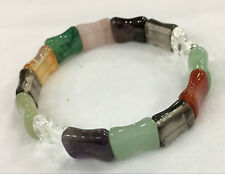"""Natural 10X14MM Crystal Jasper Ribs Stretch Bracelet 7.5"""" AAA"""