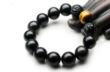 12mm Black Obsidian and Yellow Tiger Eye Bracelet