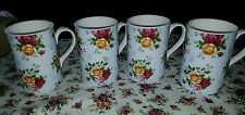 Royal albert old country roses roses mugs four BLUE DAMASK
