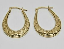 9CT YELLOW GOLD ON SILVER PATTERNED OVAL LADIES CREOLE HOOP EARRINGS -