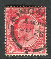 STRAITS SETTLEMENTS; 1900s early Ed VII issue used 3c. value fair Postmark