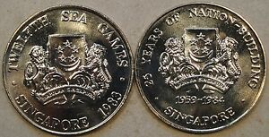 Singapore 1983+84 5 Dollar Copper Nickel Crowns Ch BU As Pictured