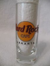 "JAKARTA Hard Rock Cafe 4"" Shooter Double Shot Glass * Black Circle & Letters"