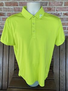 J Lindeberg Mens Highlighter Green Stretch Performance Golf Polo Size Large