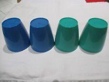 4 Plastic 200ml Cups 2x Blue, 2x Green