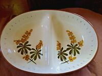 VTG MId-Century Stangl Golden Blossom Divided Serving Dish Brown Green Yellow