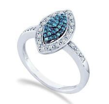 Marquesita Anillo 10 Quilates Oro Blanco Azul y Diamantes .25ct Halo Racimo