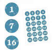 24 Adventskalender Zahlen Aufkleber PETROL - rund 4 cm Ø - Sticker Weihnachten