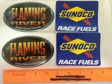 "2 Ea. Sunoco 4""x3"" Flaming River 5"" X3"" Racing Decals"