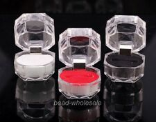 3x Clear Ring White/Red/Black Pads Display Box Storage Organizer Gift Box
