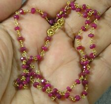 Vermeil Gold over .925 Sterling Silver Petite Faceted Ruby Gemstone Necklace