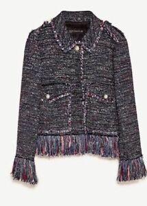 Never Worn Zara Tweed Blazer Jacket Plaid Fringed Classic Style Size XS