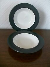 "2 x Vintage Black/Cream Soup/Dessert Plates, Diameter 9.0"", New with Tags"