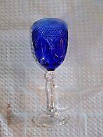 Blue Glass Stemmed Goblet Clear Base