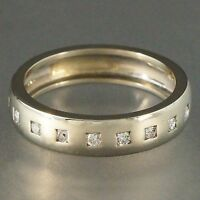 Modern Solid 14K White Gold & .22 cttw Diamond, Wedding Band Anniversary Ring