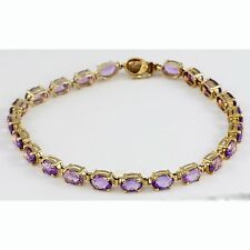Oval Amethyst Purple Gemstone 10k Yellow Gold Tennis Bracelet Jewelry February