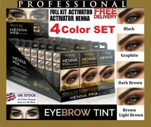 ❤️❤️ HENNA EYEBROW  EYELASH TINT Dye Cream REVERS 15ml 4 COLORS FULL KIT UK ❤️❤️