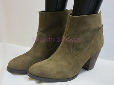Nine West HAMELIN Suede Leather Chunky Heel Ankle Boots Size 9 M Green NWOB