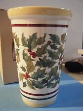 LONGABERGER STONEWARE POTTERY AMERICAN HOLLY VASE - NEW IN BOX