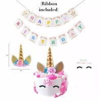 Unicorn party supplies Set Birthday Decoration ,  Unicorn Banner , Cake Topper