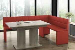 MyStyleWood Eckbank Marta Rot mit Tisch Küchenbank Sitzecke 168x128 Rechts NEU