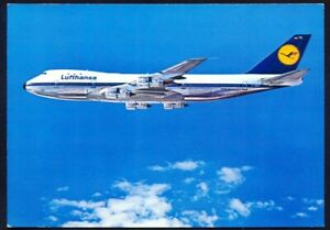 Lufthansa Boeing Jet 747. Circa 1980s Vintage Postcard. Free Postage