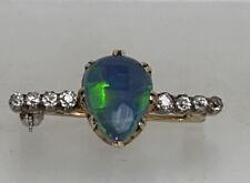 Art deco natural Black opal platinum diamond brooch 2.9g
