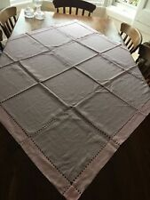 """Hand made 100%linen pink square lable cloth size 53""""x53"""""""