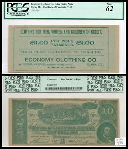 Elgin Illinois, Il Advertising note on back of Facsimile T-68, PCGS 62 NEAT