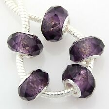 30 Purple Faceted Crystal Glass Beads Big Hole Fit European Charm Bracelet S17